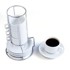 Stack-able Porcelain Cappuccino Turkish coffee  Cups and Saucer with Rack 9PCS
