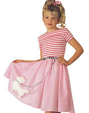 Nifty Fifties Girls Pink Poodle Skirt Pink Ladies Grease Halloween Costume S-L