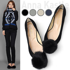 AnnaKastle New Womens Fluffy Fur Pom Pom Faux-Suede Ballet Flat Shoes US 5 6 7 8