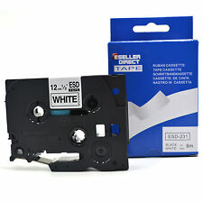 1, 2, 3, 5, 10,15 20 BROTHER COMPATIBLE BLACK/WHITE LABEL TAPE TZ231/TZe231 12mm
