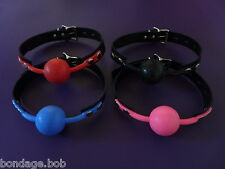 NEW real leather locking RED PINK BLACK BLUE uk SILICONE BALL GAG rubber ballgag