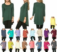 LIGHTWEIGHT, SCOOP NECK, DROP SHOULDER 3/4 SLEEVE, HIGH / LOW TUNIC TOP S M L XL