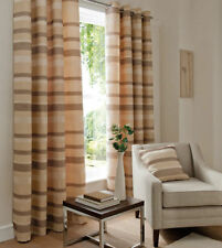 Catherine Lansfield Arlington Cream & Brown Heavy Striped Fully Lined Curtains