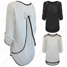 NEW LADIES BOW BACK CHIFFON INSERT ZIP SHOULDER KNIT TOP WOMEN JUMPER HI LO LOOK