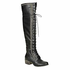 Breckelles Alabama-13 Over-Knee Lace-up Combat Boots in Black @ YAB SHOP