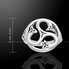 Round Triple Celtic Triskele Surround Sterling Silver Ring - Size Selectable