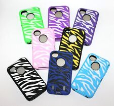 For iPhone 4 4G 4S - Hard&Soft Rubber Hybrid High Impact Skin Case Zebra Stripes