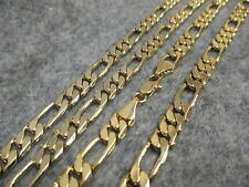 """Mens 14K Gold Overlay 6MM Figaro Figarucci Chain Necklace NEW 20"""" 24"""" or 30"""""""
