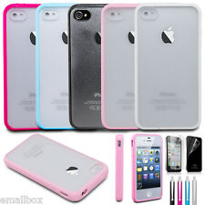 Hard Matte Clear Case with Soft Silicone TPU Bumper Cover for Apple iPhone 4 4S