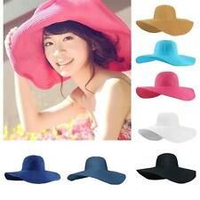 Women Summer Straw Beach Girls  Hat Wide Large Brim Foldable Sun Pure Color Cap