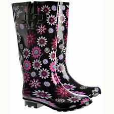 NEW LADIES EXTRA WIDE CALF LEG WELLIES WELLINGTON FESTIVAL RAIN BOOTS SIZE 3-8