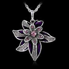 Fashion Crystal Flower Pendant Necklace Sweater Silver Chain Women Party Gifts