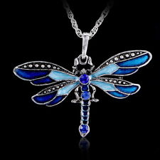 Retro Crystal Dragonfly Pendant Necklace Sweater Silver Chain Fashion Jewellery