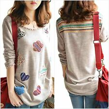 Maternity Women Pregnant Tops Long Sleeve T Shirt Tee Retro Floral Casual Blouse