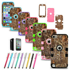 Straw Grass Camo Hybrid Impact Hard Soft Case Cover for iPod Touch 5 5th Gen