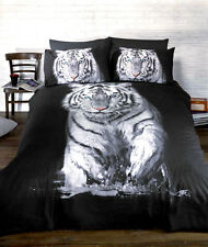 White Tiger Print Duvet Quilt Cover & Pillowcase Bed Set Single, Double and King