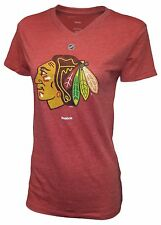 Girls's Chicago Blackhawks Distressed Logo V-Neck T-Shirt NHL Official Tee
