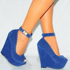 WOMENS BLUE FAUX SUEDE WEDGED PLATFORMS WEDGES HIGH HEELS ANKLE STRAP SHOES SIZE