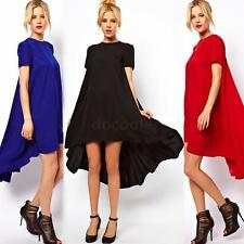 Sexy Womens Chiffon Short Sleeve Irregular Evening Party Loose Casual Long Dress
