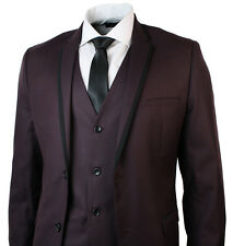 Mens 3 Piece Slim Fit Plum Burgandy Wine Suit Black Trim Formal Smart
