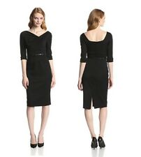 Black Halo Classic 3/4 Sleeve Jackie O Belted Sexy Women Cocktail Party Dress