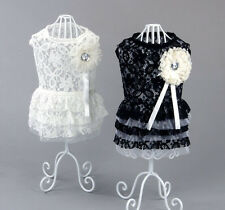 Small girl dog pet clothes apparel flower lace rhinestone princess summer dress