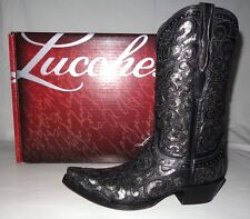 """Lucchese Curly """"L"""" Black & Pewter M4842 Hand Crafted Hand Pegged Boots"""
