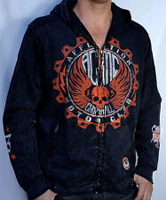 Affliction American Customs - MOTOR CLUB - Men's Biker Zip Hoodie - NEW - Black