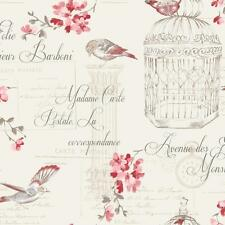 NEW HOLDEN DÉCOR AVIARY BIRDS CAGE FLORAL MOTIF FRENCH TYPOGRAPHY WALLPAPER ROLL