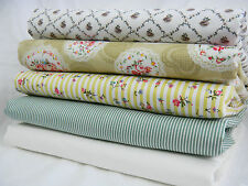 NEW 100% Cotton Material Fabric Cottage Floral Green Stripe by the METRE