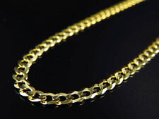"Real 10K Yellow Gold Solid Plain Style Cuban Link Chain Necklace 18-30"" (3.5MM)"