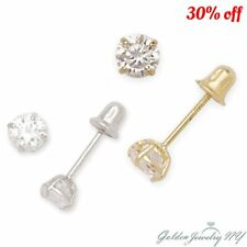 14K Yellow / White Gold Round CZ Stud Basket Earrings Screw Back for kids/ women