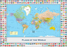Flags Of The World Poster A1 A2 A3 A4 World Map Children Learning Classroom Scho