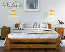 *Wooden Bedroom Furniture*New Small Double 4ft Pine Bed Frame&Slats Oak Colour