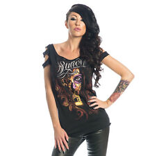 SULLEN ANGELS SECRET WHISPER WOMEN BLACK LASER CUT SLEEVES TOP US SIZE