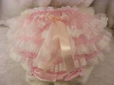 PINK SATIN/LACE FRILLY SISSY ADULT BABY PANTS,KNICKERS,DIAPER COVER,ALL SIZES