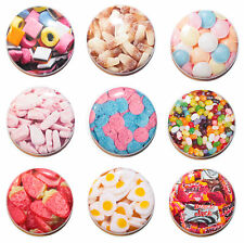 """1"""" (25mm) Retro Sweets Button Badge Pins - Shrimps, Flying Saucers, Cola Bottles"""