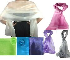 Scarf  Shawl wrap metallic ORGANZA wedding PROM RACES 14 COLOURS-68 x 180 cm ❤
