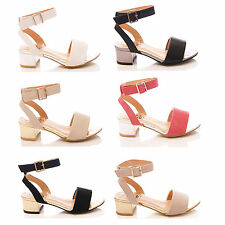 LADIES BLOCK HEEL SANDALS LOW HEELS PEEP TOE FASHION SHOES SIZE UK 3 4 5 6 7 8
