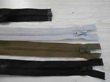 "Plastic separating zippers gray greens black 15"" - 28"" long 3 per item free ship"