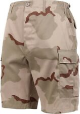 Mens Tri-Color Desert Camouflage Military BDU Cargo Shorts