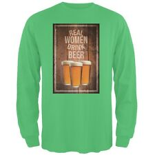 St. Patricks Day - Real Women Drink Beer Irish Green Adult Long Sleeve T-Shirt