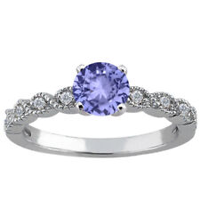 1.08 Ct Round Blue Tanzanite 925 Sterling Silver Ring