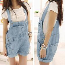 Womens Denim Hole Jumpsuit Distressed Washed Jeans Romper Crimping Overall Short
