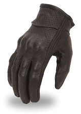 Mens Lightweight Perforated Black Leather Motorcycle Riding Glove with knuckles
