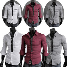 British Style Long Sleeve Solid Men's Luxury Slim fit Formal Casual Dress Shirts