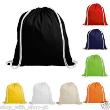 25 COTTON DRAWSTRING RUCKSACK BACKPACK TOTE BAG - SCHOOL GYM PE BOOK BAG - ECO