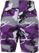 Mens Purple Camouflage Military BDU Cargo Shorts