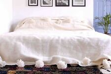 MOROCCAN PURE WOOL BLANKET WITH POMPOMS, HAND WOVEN ON WOODEN LOOMS (WL011)