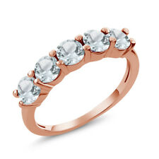 1.10 Ct Round Sky Blue Aquamarine 925 Rose Gold Plated Silver 5-Stone Band Ring